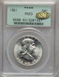 Franklin Half Dollars, 1961 50C MS63 PCGS. Gold CAC. PCGS Population (347/3654). NGCCensus: (193/2999). Mintage: 8,200,000. Numismedia Wsl. Price...