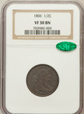 Half Cents: , 1806 1/2 C Small 6, No Stems VF30 NGC. CAC. NGC Census: (28/793).PCGS Population (45/408). Mintage: 356,000. Numismedia Ws...