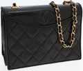 Luxury Accessories:Bags, Chanel Black Lambskin Leather Flap Evening Bag with Gold Hardware....