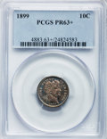 Proof Barber Dimes: , 1899 10C PR63+ PCGS. PCGS Population (51/138). NGC Census:(21/149). Mintage: 846. Numismedia Wsl. Price for problem free N...