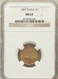 Flying Eagle Cents: , 1857 1C MS63 NGC. NGC Census: (502/1116). PCGS Population(762/1135). Mintage: 17,450,000. Numismedia Wsl. Price forproble...