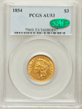 Three Dollar Gold Pieces: , 1854 $3 AU53 PCGS. CAC. PCGS Population (378/1739). NGC Census:(339/2776). Mintage: 138,618. Numismedia Wsl. Price for pro...