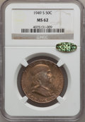 Franklin Half Dollars: , 1949-S 50C MS62 NGC. CAC. NGC Census: (82/2215). PCGS Population(71/3756). Mintage: 3,744,000. Numismedia Wsl. Price for p...