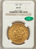 Liberty Double Eagles: , 1861 $20 AU55 NGC. CAC. NGC Census: (546/1019). PCGS Population(258/447). Mintage: 2,976,453. Numismedia Wsl. Price for pr...