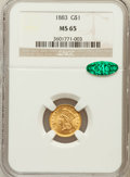 Gold Dollars: , 1883 G$1 MS65 NGC. CAC. NGC Census: (45/128). PCGS Population(78/190). Mintage: 10,800. Numismedia Wsl. Price for problem ...