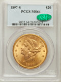 Liberty Double Eagles: , 1897-S $20 MS64 PCGS. CAC. PCGS Population (429/10). NGC Census:(309/19). Mintage: 1,470,250. Numismedia Wsl. Price for pr...