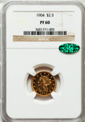 Proof Liberty Quarter Eagles: , 1904 $2 1/2 PR60 NGC. CAC. NGC Census: (5/19). PCGS Population (1/67). Mintage: 170. Numismedia Wsl. Price for problem free...