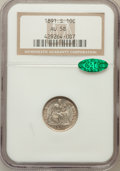 Seated Dimes: , 1891-S 10C AU58 NGC. CAC. NGC Census: (10/138). PCGS Population(10/132). Mintage: 3,196,116. Numismedia Wsl. Price for pro...