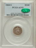 Seated Half Dimes: , 1868-S H10C AU53 PCGS. CAC. PCGS Population (2/96). NGC Census:(1/132). Mintage: 280,000. Numismedia Wsl. Price for proble...