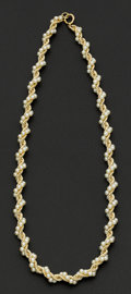 Estate Jewelry:Necklaces, Cultured Pearl Gold Necklace. ...