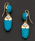 Estate Jewelry:Earrings, Gold & Blue Stone Earrings. ...