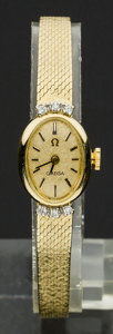 Timepieces:Wristwatch, Lady's Omega 14k Gold & Diamond Bracelet Wristwatch. ...