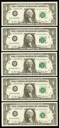 Error Notes:Blank Reverse (<100%), Fr. 1910-B $1 1977A Federal Reserve Notes. Five ConsecutiveExamples. Very Choice Crisp Uncirculated.. ... (Total: 5 notes)