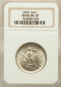 Commemorative Silver: , 1935 50C Texas MS67 NGC. NGC Census: (219/13). PCGS Population(208/5). Mintage: 9,996. Numismedia Wsl. Price for problem f...
