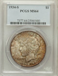 Peace Dollars: , 1934-S $1 MS64 PCGS. PCGS Population (583/189). NGC Census:(309/84). Mintage: 1,011,000. Numismedia Wsl. Price for problem...