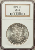 Morgan Dollars: , 1887-O $1 MS64 NGC. NGC Census: (1821/91). PCGS Population(2432/301). Mintage: 11,550,000. Numismedia Wsl. Price for probl...