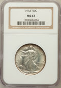 Walking Liberty Half Dollars: , 1943 50C MS67 NGC. NGC Census: (523/15). PCGS Population (347/5).Mintage: 53,190,000. Numismedia Wsl. Price for problem fr...