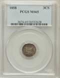 Three Cent Silver: , 1858 3CS MS65 PCGS. PCGS Population (49/38). NGC Census: (47/29).Mintage: 1,604,000. Numismedia Wsl. Price for problem fre...