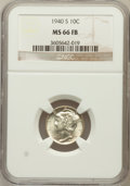 Mercury Dimes: , 1940-S 10C MS66 Full Bands NGC. NGC Census: (242/88). PCGSPopulation (548/139). Mintage: 21,560,000. Numismedia Wsl. Price...
