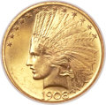 Indian Eagles, 1908 $10 Motto MS65 NGC. CAC....