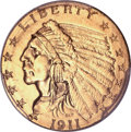 Indian Quarter Eagles, 1911-D $2 1/2 Strong D -- Cleaning -- PCGS Genuine. AU Details....