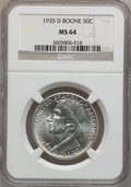 Commemorative Silver: , 1935-D 50C Boone MS64 NGC. NGC Census: (242/326). PCGS Population(417/415). Mintage: 5,005. Numismedia Wsl. Price for prob...