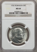 Commemorative Silver: , 1936 50C Robinson MS64 NGC. NGC Census: (1119/1012). PCGSPopulation (1832/1519). Mintage: 25,265. Numismedia Wsl. Pricefo...