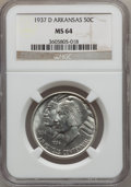 Commemorative Silver: , 1937-D 50C Arkansas MS64 NGC. NGC Census: (292/389). PCGSPopulation (414/495). Mintage: 5,505. Numismedia Wsl. Price forp...