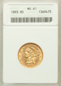 Liberty Half Eagles: , 1893 $5 MS61 ANACS. NGC Census: (1669/4659). PCGS Population(594/2103). Mintage: 1,528,197. Numismedia Wsl. Price for prob...