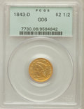 Liberty Quarter Eagles, 1843-D $2 1/2 Small D Good 6 PCGS. Variety 4-H (formerly 4-D)....
