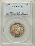 Barber Quarters: , 1906 25C MS62 PCGS. PCGS Population (35/176). NGC Census: (22/122).Mintage: 3,656,435. Numismedia Wsl. Price for problem f...