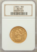 Liberty Eagles: , 1855 $10 AU50 NGC. NGC Census: (48/382). PCGS Population (53/95).Mintage: 121,701. Numismedia Wsl. Price for problem free ...