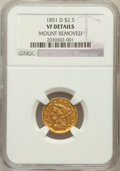 Liberty Quarter Eagles: , 1851-D $2 1/2 -- Mount Removed -- NGC Details. VF. NGC Census:(0/74). PCGS Population (4/87). Mintage: 11,264. Numismedia ...