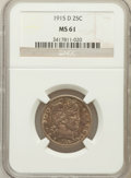 Barber Quarters: , 1915-D 25C MS61 NGC. NGC Census: (21/427). PCGS Population(20/584). Mintage: 3,694,000. Numismedia Wsl. Price for problem ...