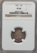 Bust Dimes: , 1832 10C VF30 NGC. NGC Census: (5/258). PCGS Population (12/294).Mintage: 522,500. Numismedia Wsl. Price for problem free ...