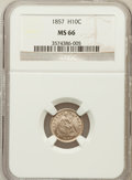 Seated Half Dimes, 1857 H10C MS66 NGC....