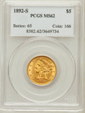 Liberty Half Eagles: , 1892-S $5 MS62 PCGS. PCGS Population (62/32). NGC Census: (62/9).Mintage: 298,400. Numismedia Wsl. Price for problem free ...