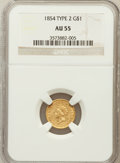 Gold Dollars: , 1854 G$1 Type Two AU55 NGC. NGC Census: (936/3793). PCGS Population(578/1705). Mintage: 783,943. Numismedia Wsl. Price for...
