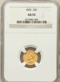 Gold Dollars: , 1855 G$1 AU53 NGC. NGC Census: (313/4363). PCGS Population(292/2197). Mintage: 758,269. Numismedia Wsl. Price for problem ...