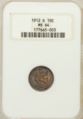 Barber Dimes: , 1912-D 10C MS64 NGC. NGC Census: (74/32). PCGS Population (73/37).Mintage: 11,760,000. Numismedia Wsl. Price for problem f...