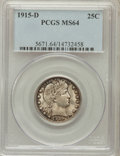Barber Quarters: , 1915-D 25C MS64 PCGS. PCGS Population (199/162). NGC Census:(153/89). Mintage: 3,694,000. Numismedia Wsl. Price for proble...