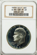 Proof Eisenhower Dollars: , 1971-S $1 Silver PR69 Ultra Cameo NGC. NGC Census: (1631/0). PCGSPopulation (18540/9). Numismedia Wsl. Price for problem ...