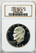 Proof Eisenhower Dollars: , 1972-S $1 Silver PR69 Ultra Cameo NGC. NGC Census: (1514/0). PCGSPopulation (14845/33). Numismedia Wsl. Price for problem...