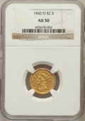 Liberty Quarter Eagles: , 1842-O $2 1/2 AU50 NGC. NGC Census: (13/61). PCGS Population(6/31). Mintage: 19,800. Numismedia Wsl. Price for problem fre...
