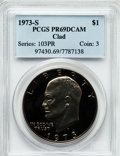 Proof Eisenhower Dollars: , 1973-S $1 Clad PR69 Deep Cameo PCGS. PCGS Population (12176/0). NGCCensus: (170/0). Numismedia Wsl. Price for problem fre...