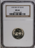 Jefferson Nickels: , 1939 5C Reverse of 1938 MS66 NGC. NGC Census: (152/428). PCGSPopulation (146/24). Mintage: 120,627,536. Numismedia Wsl. Pr...