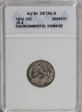 Bust Dimes: , 1832 10C --Environmental Damage--ANACS. AU50 Details. JR-6. NGCCensus: (7/192). PCGS Population (12/181). Mintage: 522,500...