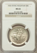 Commemorative Silver: , 1925 50C Stone Mountain MS65 NGC. NGC Census: (2224/788). PCGSPopulation (2153/919). Mintage: 1,314,709. Numismedia Wsl. P...
