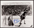 Hockey Collectibles:Photos, 1970 Glenn Hall Signed Press Photograph From Famous Bobby OrrStanley Cup Winning Goal. ...