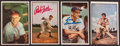 Baseball Cards:Autographs, 1953 Bowman Signed Cards With Feller, Slaughter, Musial and Boudreau. ...